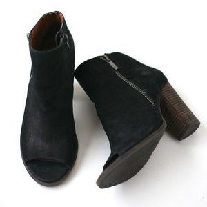Lucky Brand black leather open toe booties heels